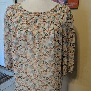 LC Lauren Conrad women's S floral tunic semi sheer